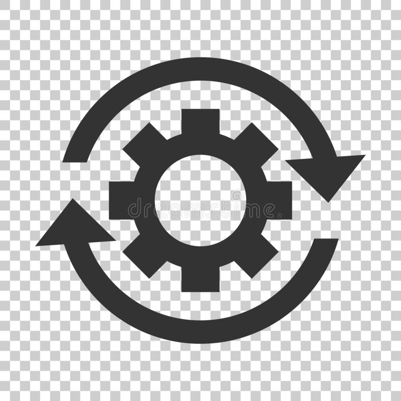 Workflow process icon in flat style. Gear cog wheel with arrows vector illustration