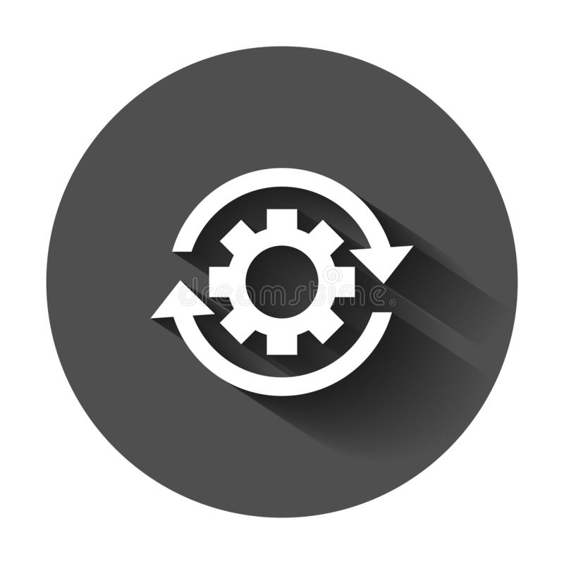 Workflow process icon in flat style. Gear cog wheel with arrows royalty free illustration