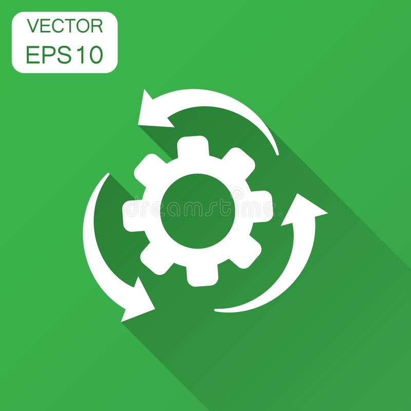 Workflow process icon in flat style. Gear cog wheel with arrows stock illustration