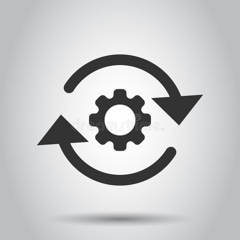 Workflow process icon in flat style. Gear cog wheel with arrows vector illustration on white background. Workflow business concept stock illustration