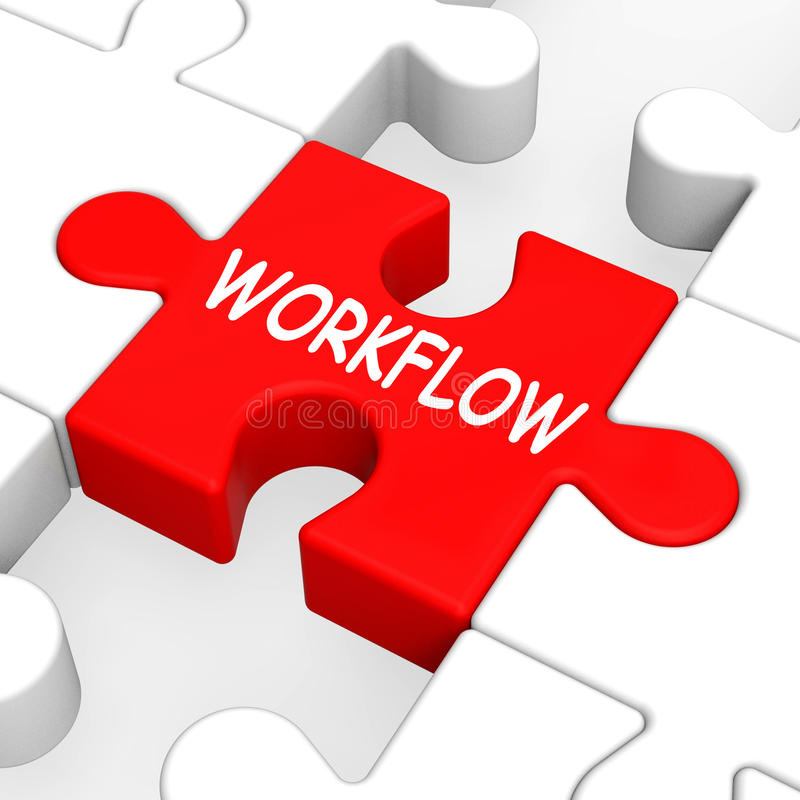 Workflow Puzzle Shows Process Flow Or Procedure. Workflow Puzzle Showing Process Flow Or Procedure stock illustration