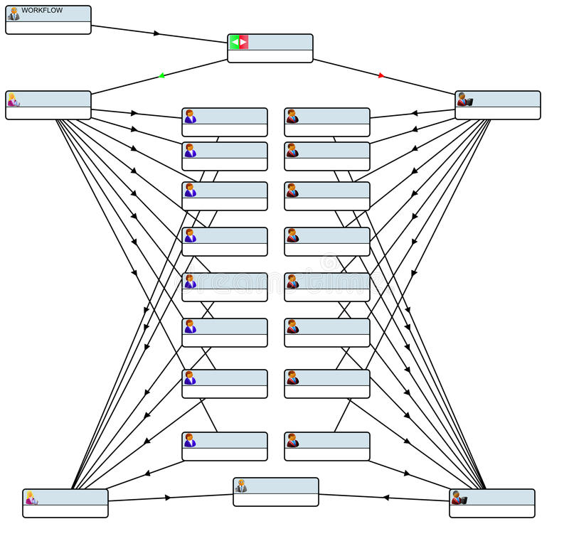 Workflow schema. Logical schema of business process vector illustration
