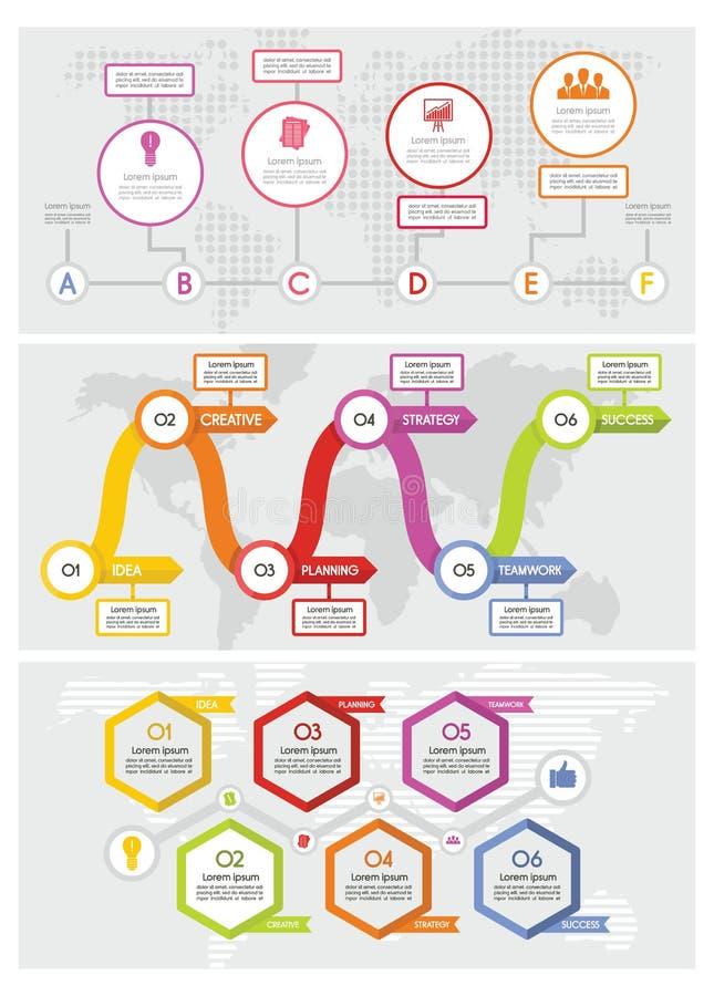 Workflow timeline banner concept set, flat style vector illustration