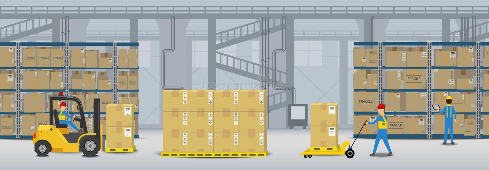 Workflow in warehouse. Warehouse interior with workers working flat design vector illustration