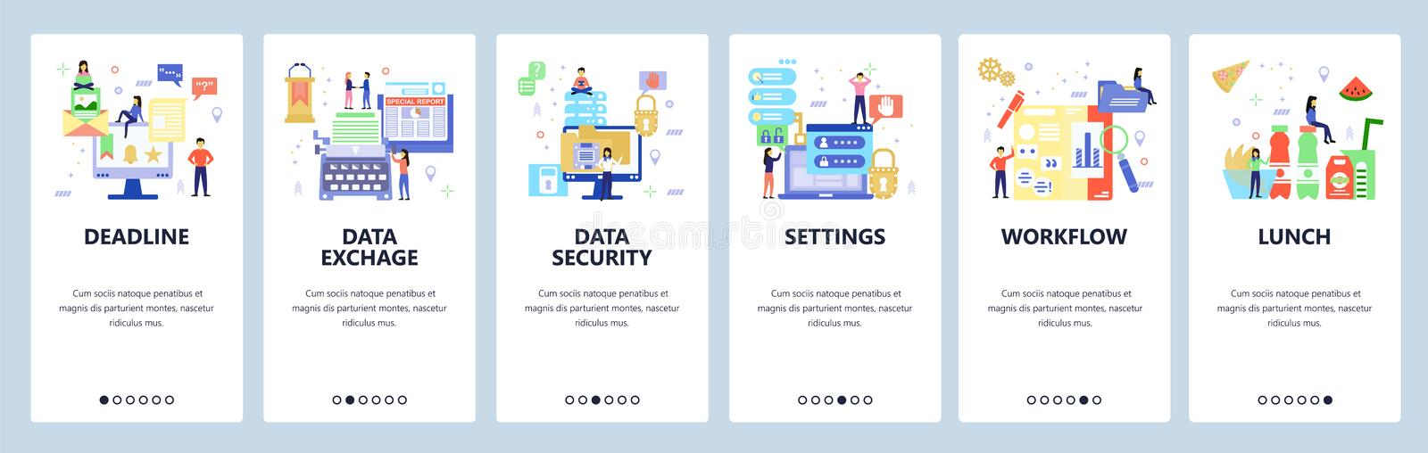 Workflow website and mobile app onboarding screens vector template stock illustration