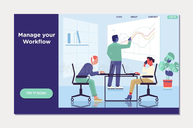 Workflow, workplace and environment. People work in a team and interact with graphs. royalty free illustration