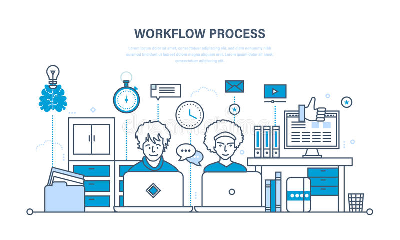 Workflow, workplace, environment, software and hardware, thought process, communication. royalty free illustration