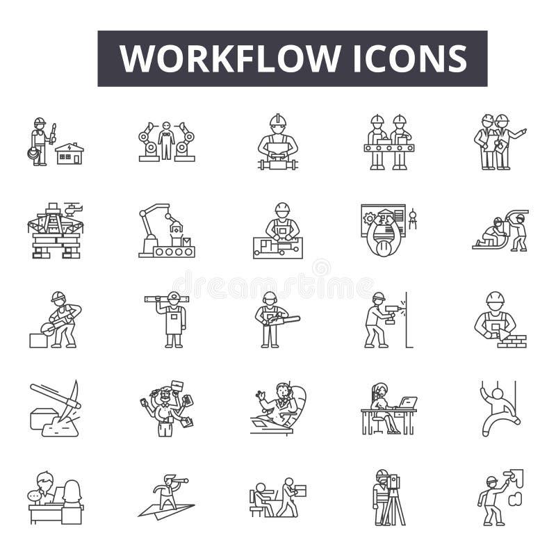 Workflowlinje symboler, tecken, vektoruppsättning, linjärt begrepp, översiktsillustration royaltyfri illustrationer