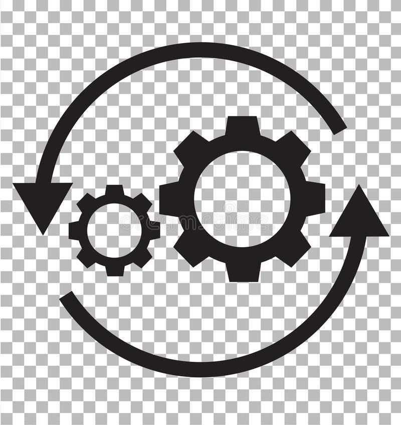 Workflowsymbol på genomskinligt Plan stil kugghjul- och pilsymbol fo royaltyfri illustrationer