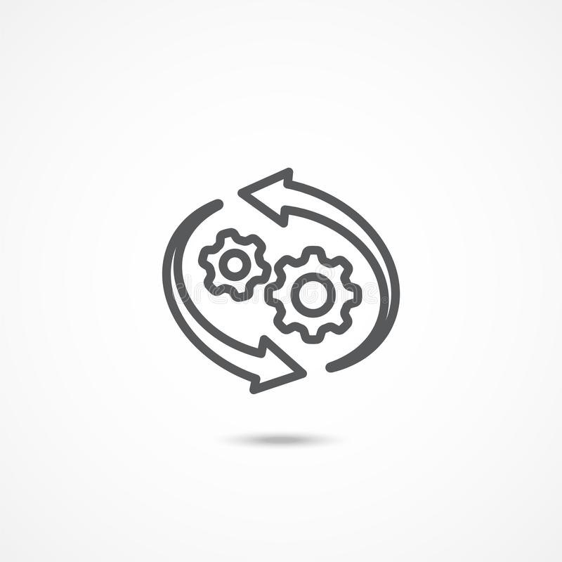 Workflowsymbol på vit stock illustrationer