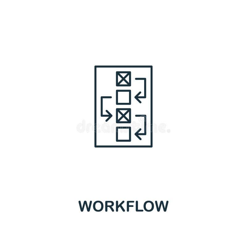 Workflowsymbol Tunn översiktsstildesign från designui och uxsymbolssamling Idérik Workflowsymbol för rengöringsdukdesign stock illustrationer