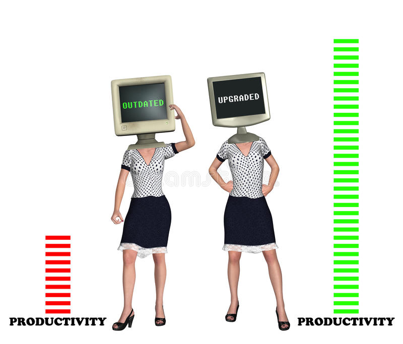 Workforce Productivity Efficiency Concept Illustration. Concept illustration of an outdated worker vs an upgraded worker on the productivity. The outdated figure vector illustration