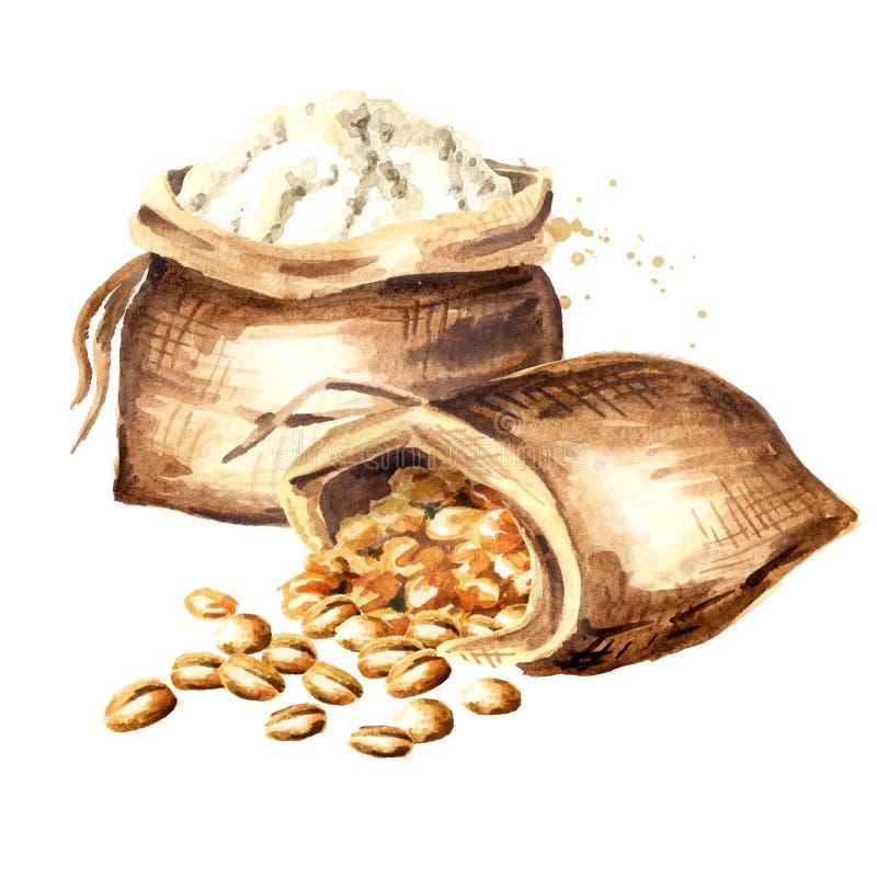 Worki z adrą i mąką Akwareli ręka rysująca ilustracja, odizolowywająca na białym tle ilustracji
