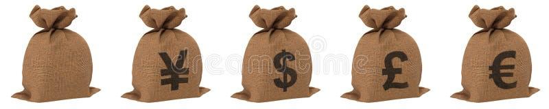 Worki z pieniądze różnymi walutami dolarowy euro jen i funt Odizolowywający na bielu ilustracja 3 d royalty ilustracja