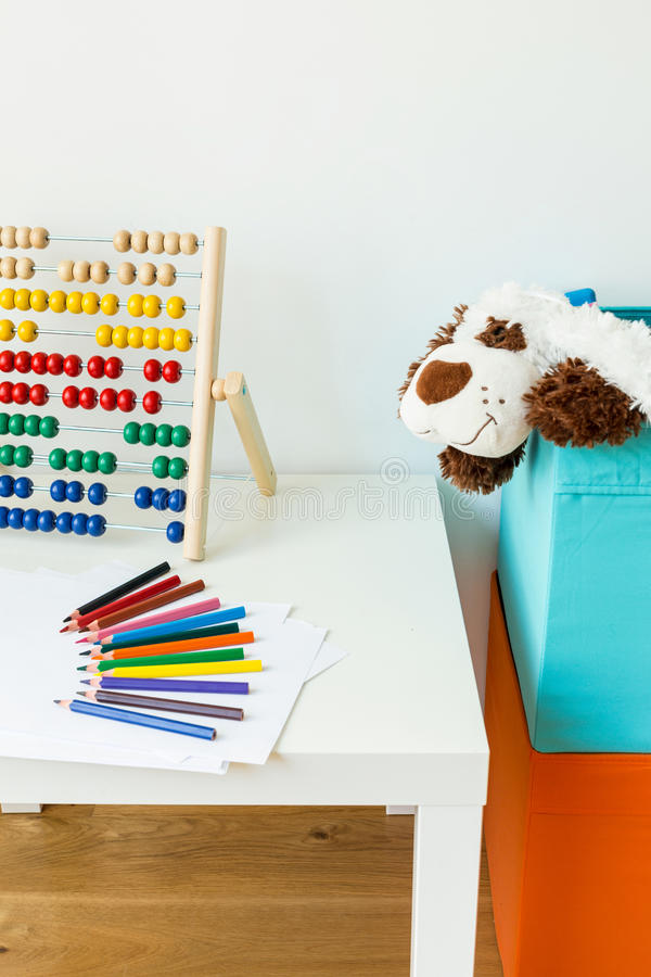 Working area in child room stock photo