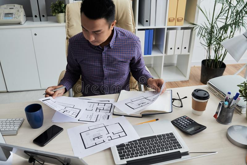 Working with blueprints stock image