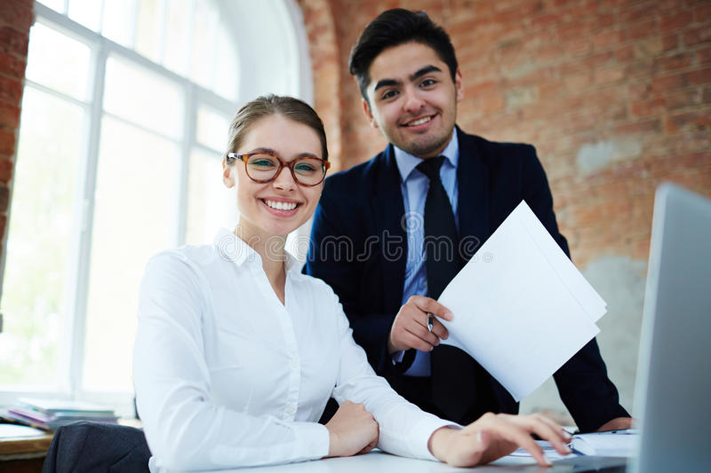 Working at business project stock photography