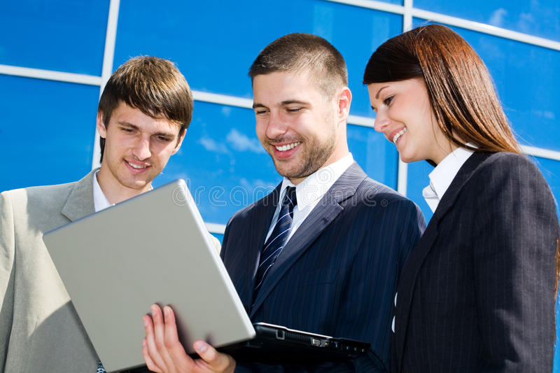 Download Working Business Team Near Office Centre Stock Photo - Image of color, cooperation: 10044542