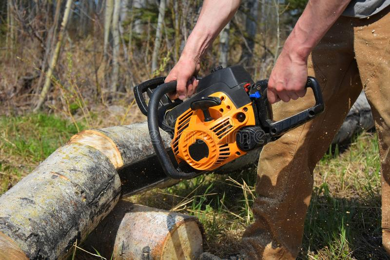 Working Chainsaw Close Up. An image of a young man cutting firewood with a yellow chainsaw royalty free stock photo