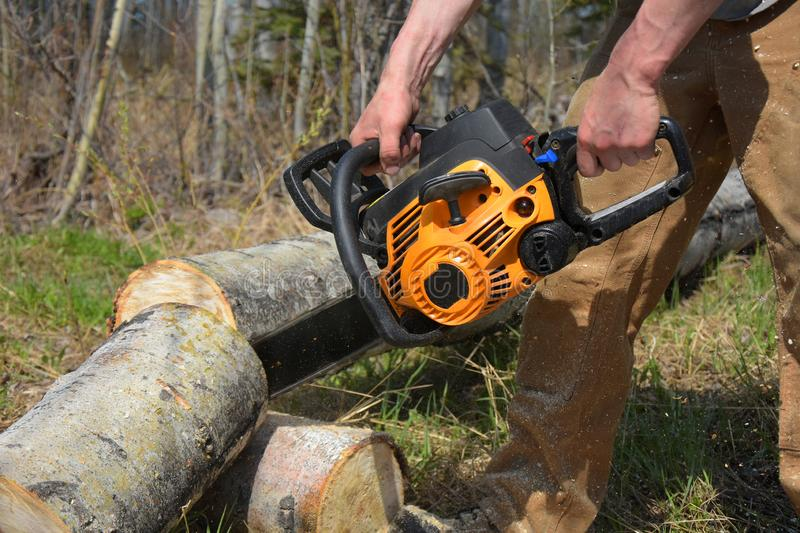 Working Chainsaw Close Up. An image of a young man cutting firewood with a yellow chainsaw royalty free stock photography