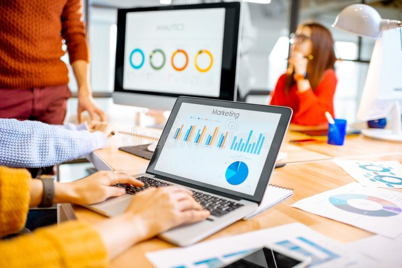 Working with charts in the office royalty free stock images