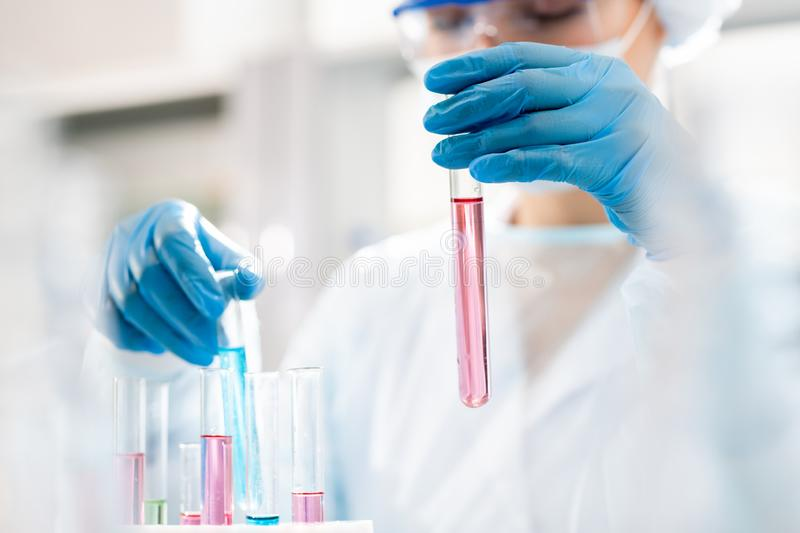 Working with chemical substances stock photography