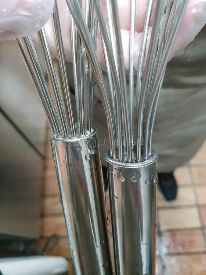 Cleaned stir bar. When working, clean the stir bar and bleach it, sparkling royalty free stock photo