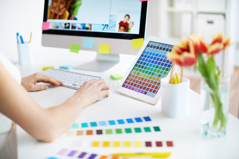 Working with colors stock photography
