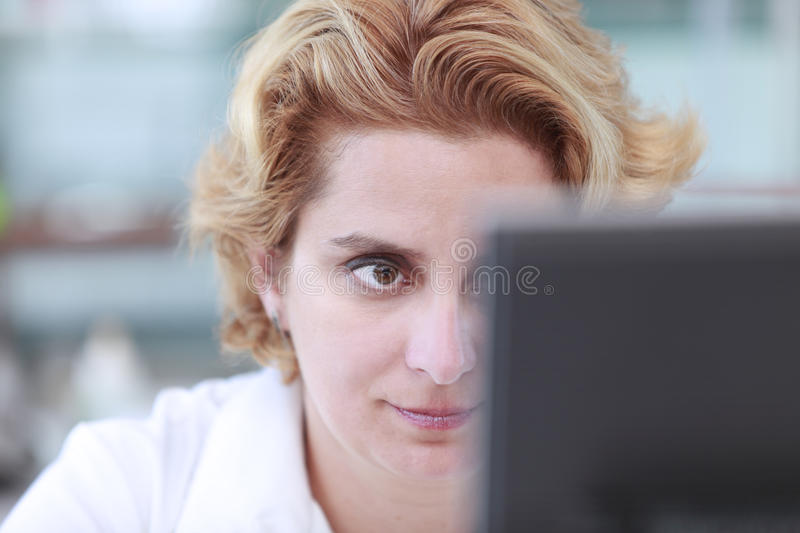 Download Working on a computer stock image. Image of focus, hair - 10859221