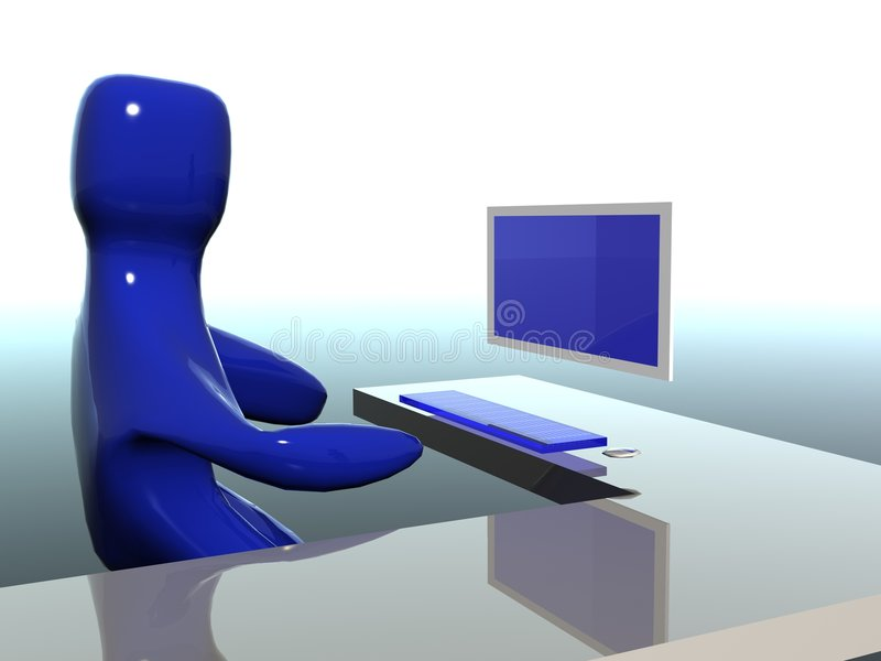 Download Working On Computer Cartoon Stock Image - Image: 3502253