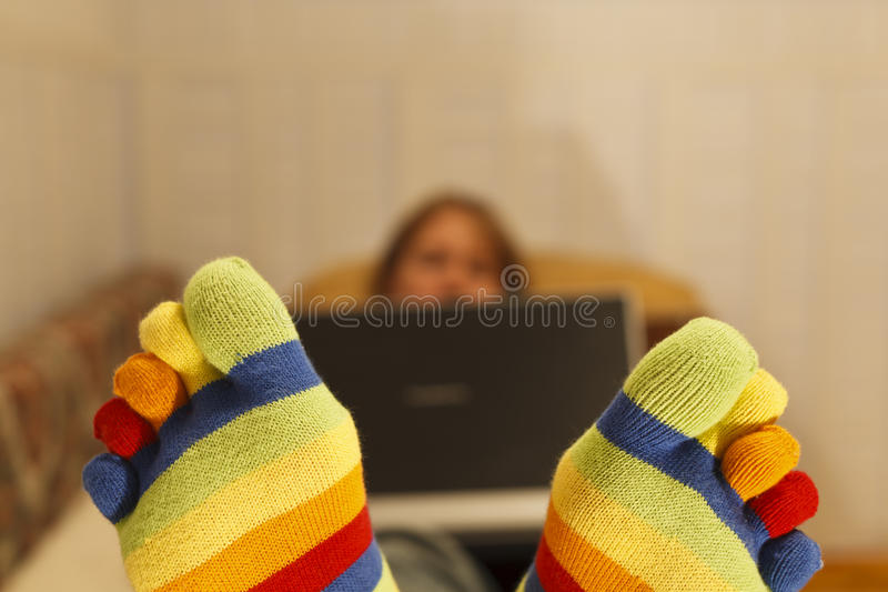 Working with computer at home royalty free stock image