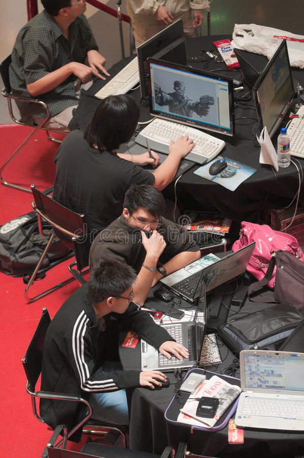 Download Working on Computers editorial stock photo. Image of competitors - 10109198