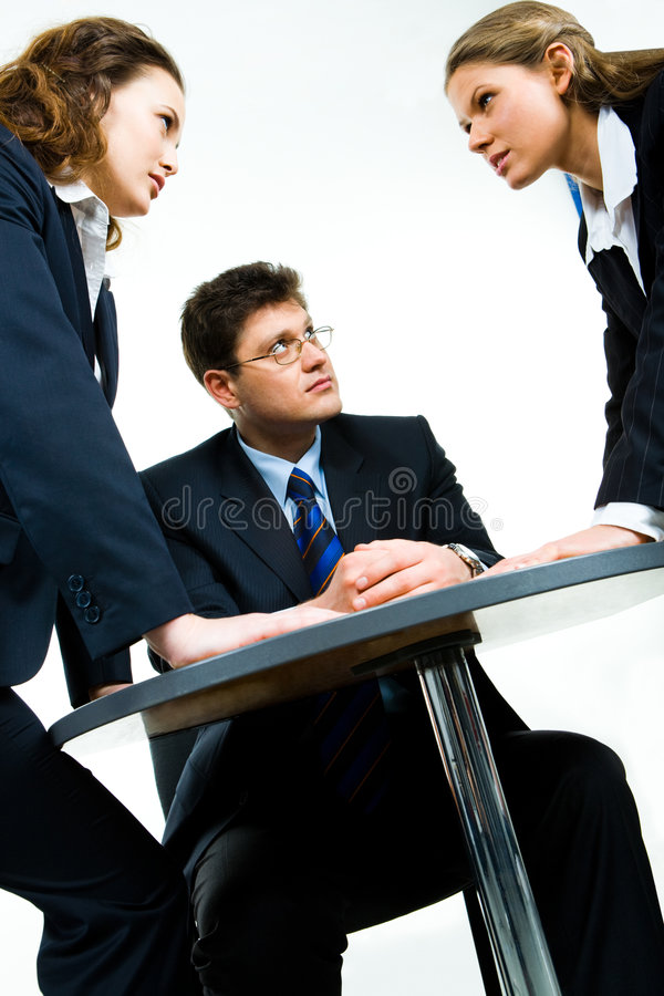 Working conflict stock image
