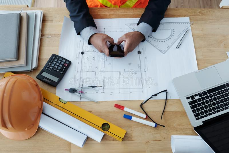Working construction engineer royalty free stock photography