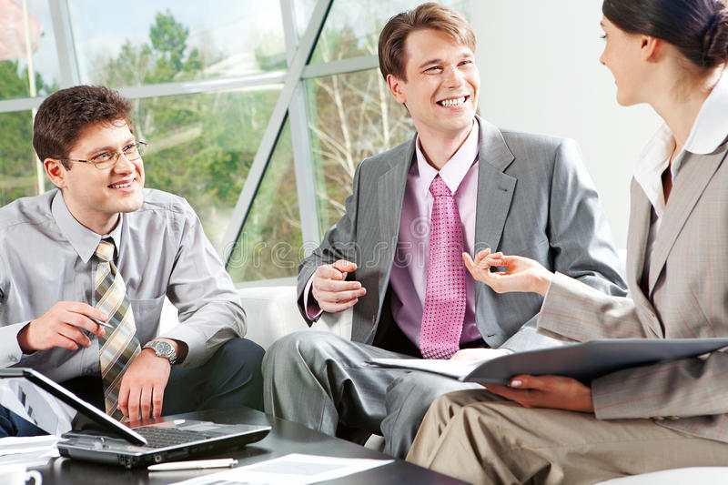 Working conversation stock photography