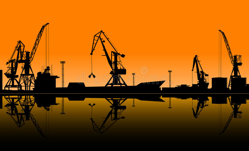 Working cranes unload cargo in seaport royalty free illustration