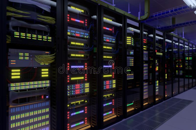 Working data center interior. royalty free stock images