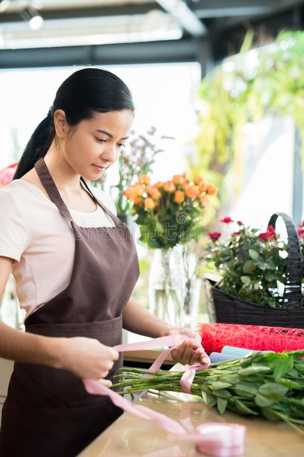 Working day in florist shop royalty free stock photography