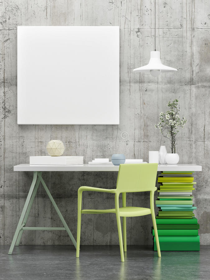 Working desk with green books, mock up poster. 3d illustration royalty free illustration