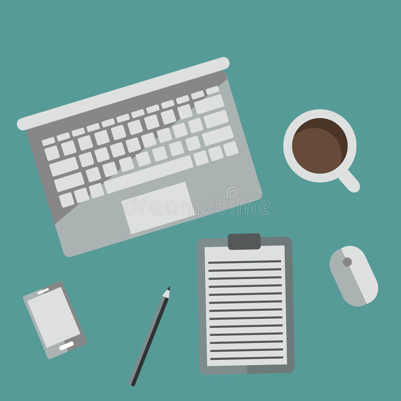 Working Desk Office Equipment in Modern Flat Style royalty free stock photos