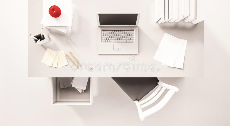 Working desk space, top view, with computer laptop, paper work, books, chair, opened drawer, apple and etc., 3d rendered stock illustration
