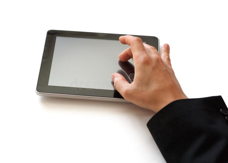 Working on digital tablet royalty free stock images