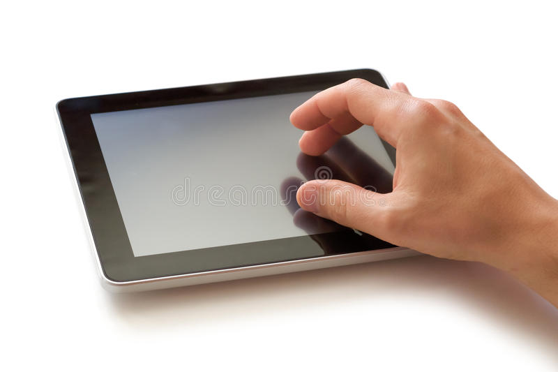 Working on digital tablet royalty free stock photo