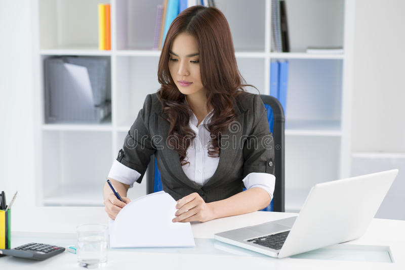 Working with documents stock photography