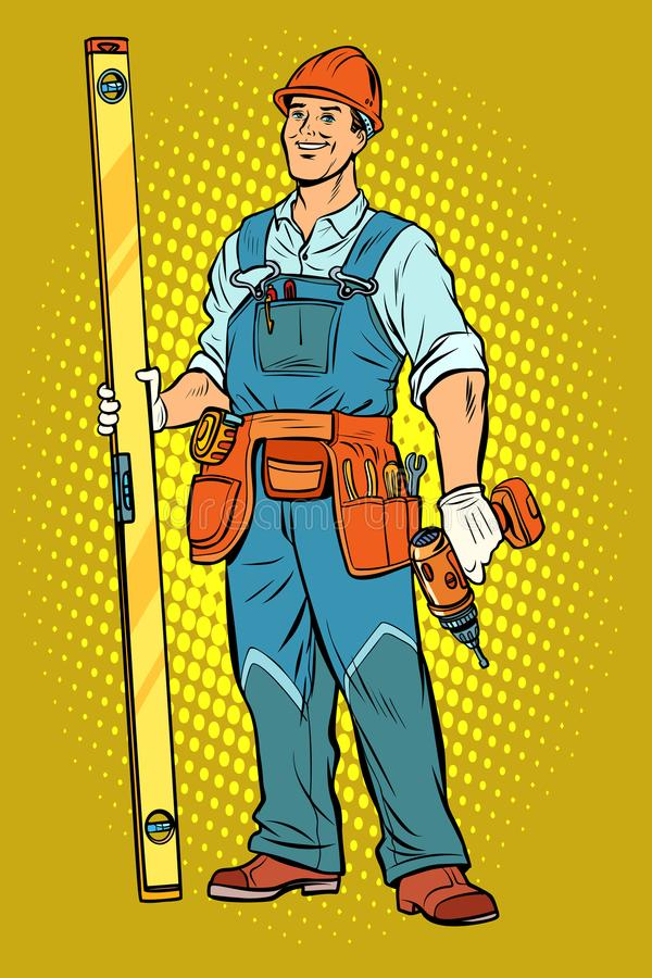 Working with a drill, home repair vector illustration