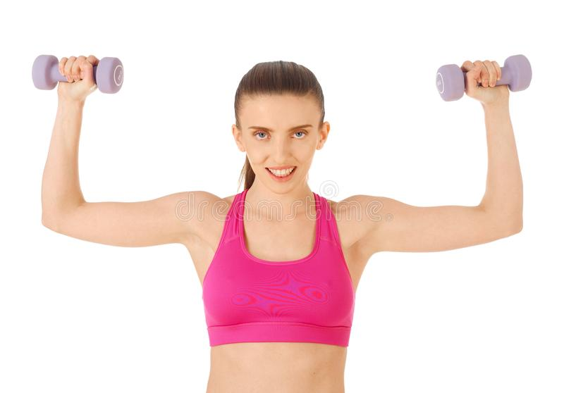 Working with dumbbells stock photography