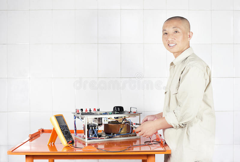 A working electrician royalty free stock photo