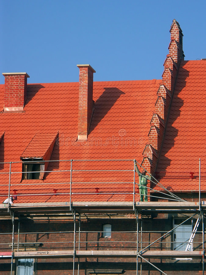 Download Working at elevation stock image. Image of roofing, blue - 374839