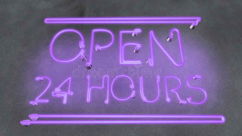 Working evening night local pub, neon sign Open 24 hours in cafe bar restaurant. Stock photo royalty free illustration