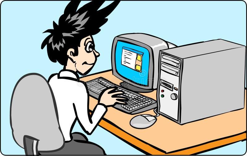 Download Working för datorman vektor illustrationer. Illustration av ledare - 2618012